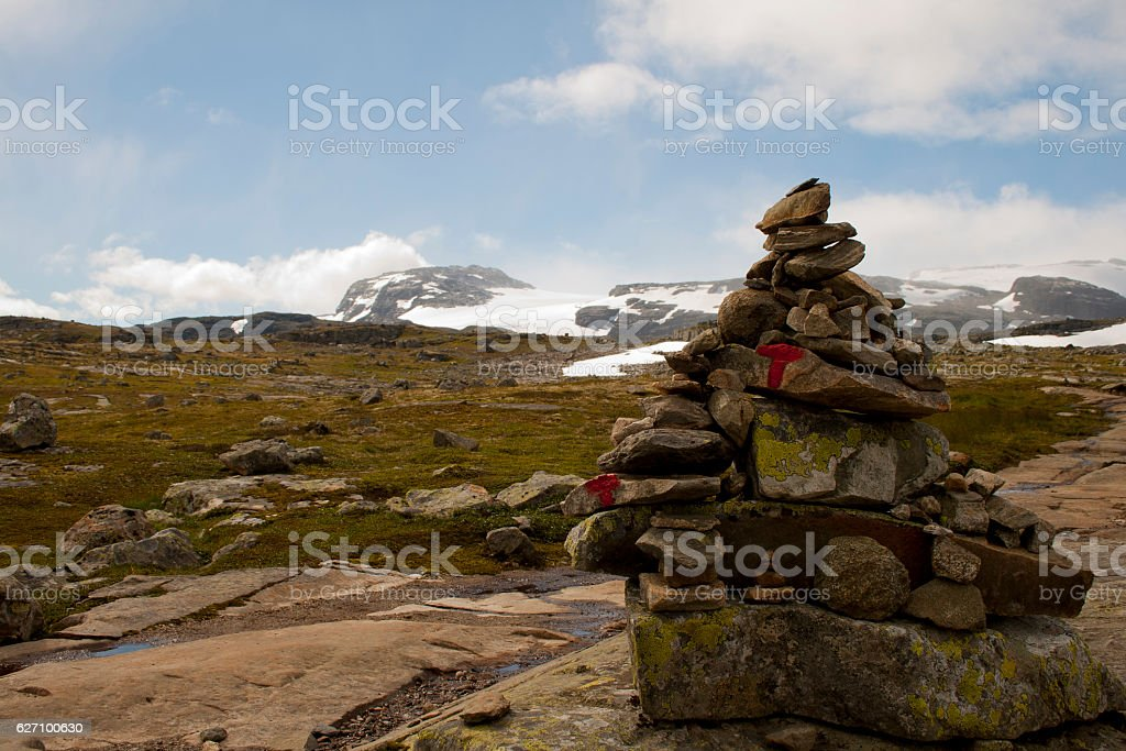Stone cairn as a navigation mark stock photo