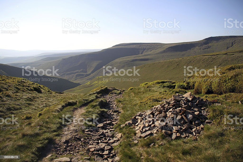 Stone cairn at the top of Doctor's Gate, Peak District stock photo