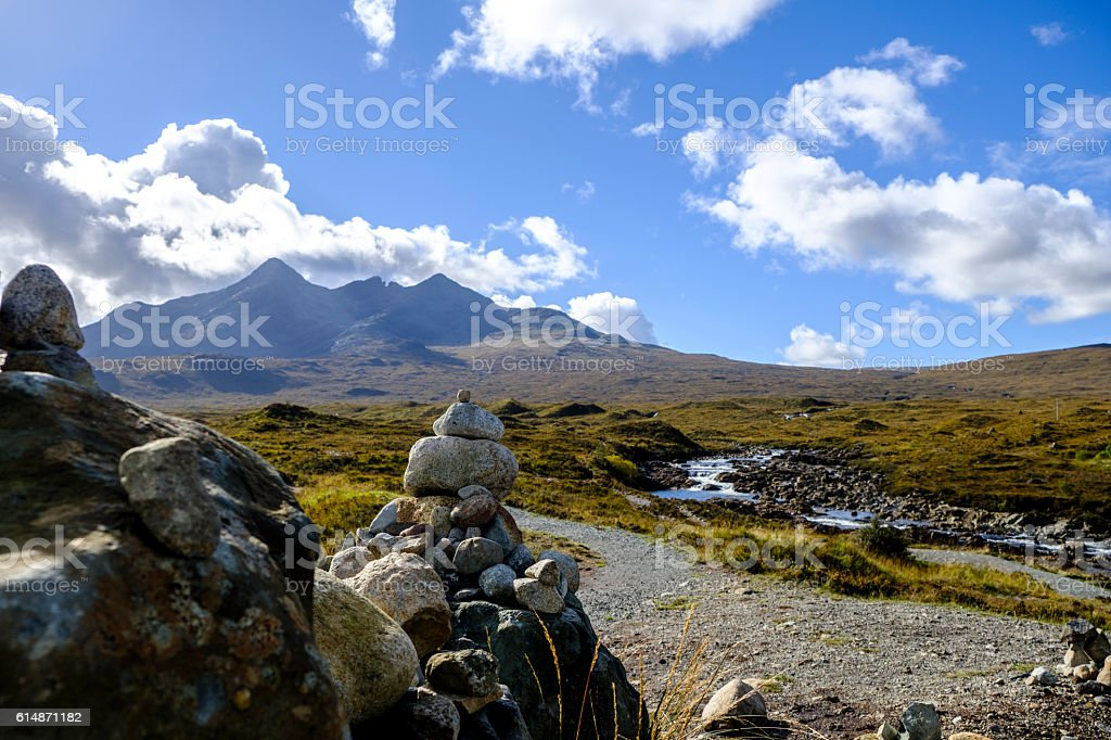 Stone cairn with Cuillins stock photo