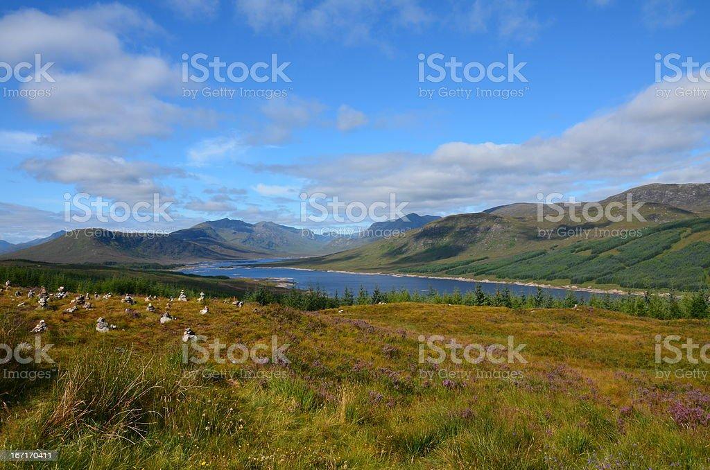 Stone cairns at Loch Loyne stock photo