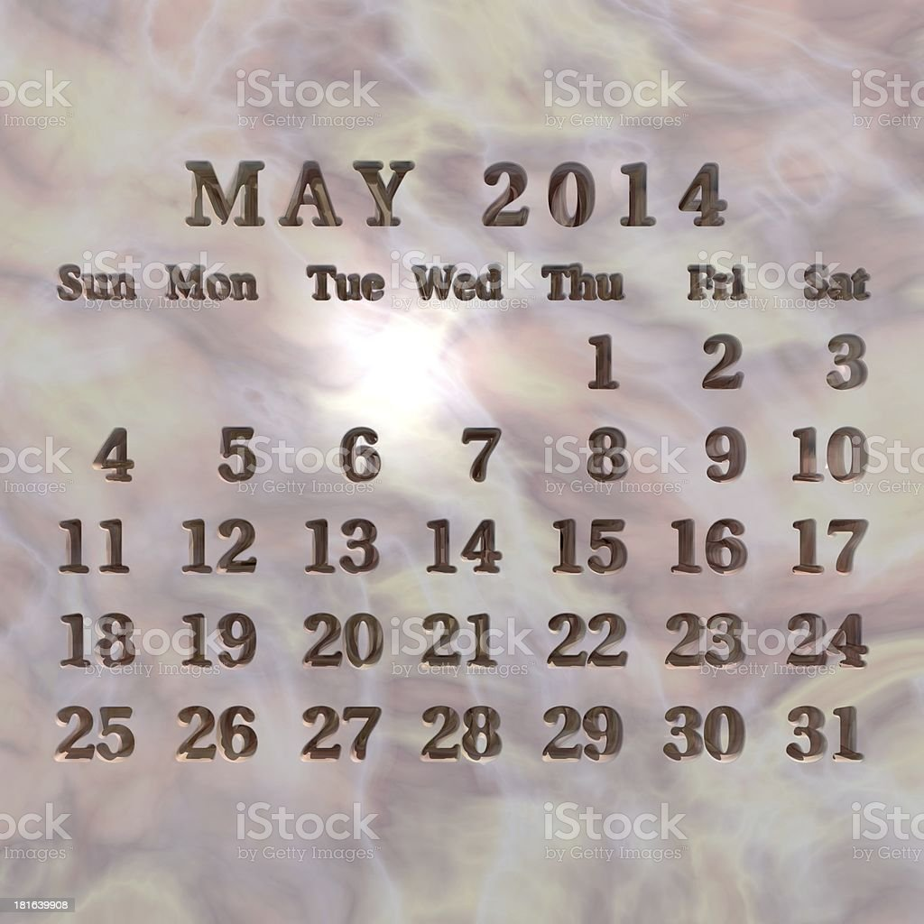 Stone calendar 2014, May royalty-free stock photo