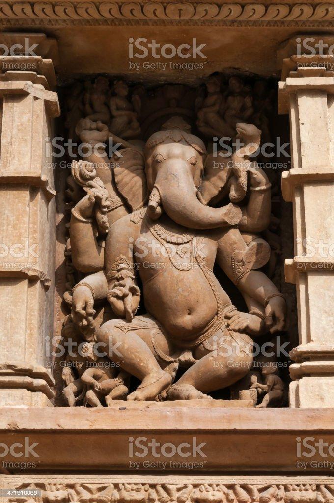 Stone carved sculpture of god Ganesha on Lakshmana temple. Khajuraho stock photo
