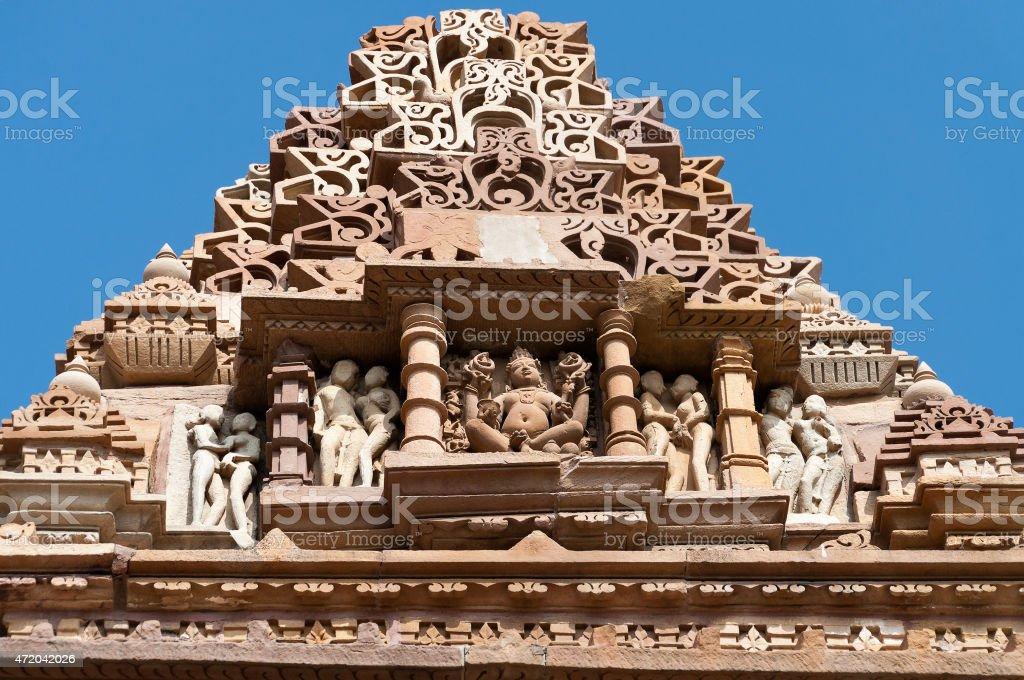 Stone carved sculptures on Kandariya Mahadeva temple. Khajuraho stock photo