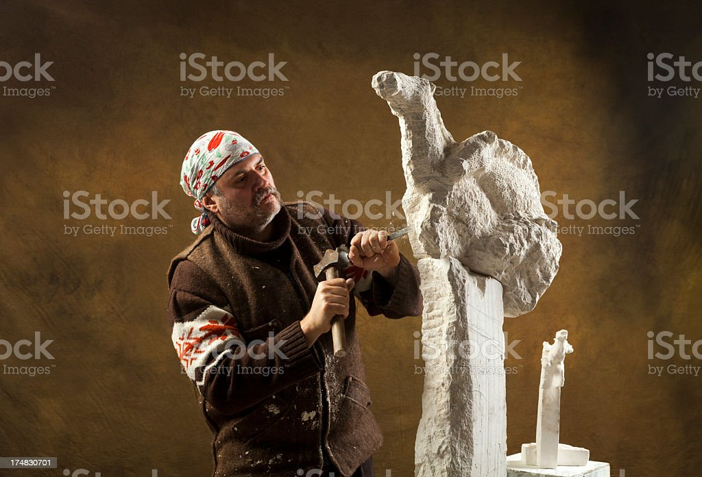 Stone carver at work royalty-free stock photo