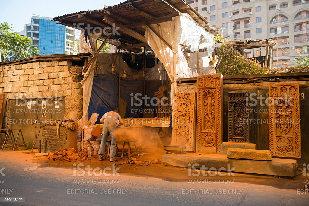 Stone carver working in Yerevan, Armenia stock photo