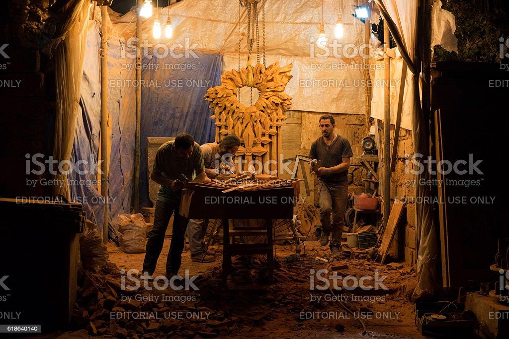 Stone carvers working in Yerevan, Armenia stock photo