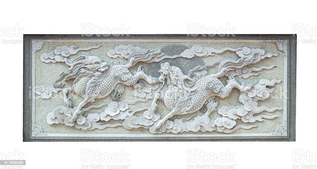 Stone carving animal Chinese Qilin isolated stock photo