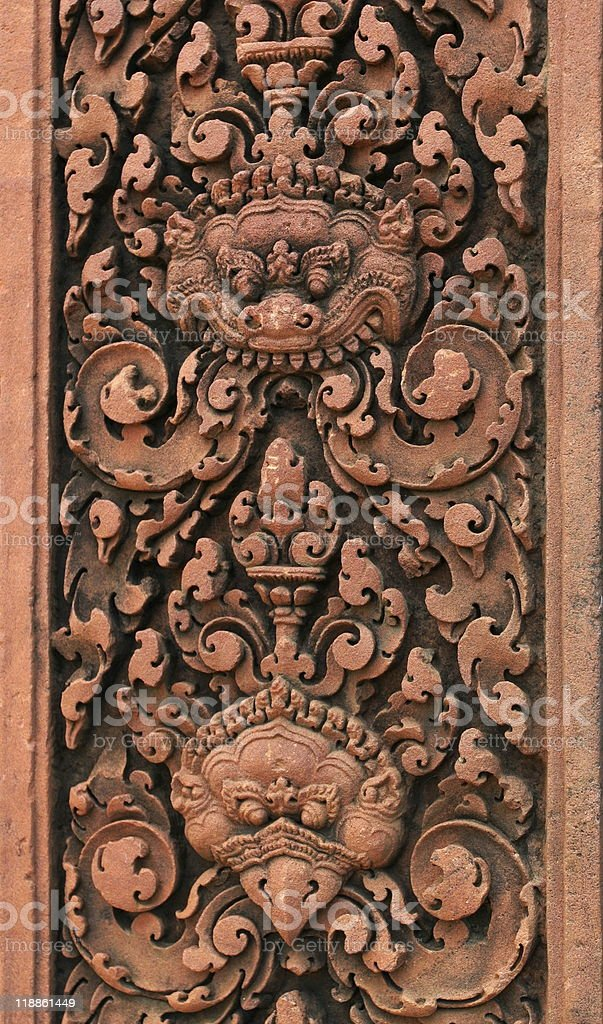 Stone carving .Banteay Srei Temple. Angkor. Siem Reap, Cambodia. royalty-free stock photo