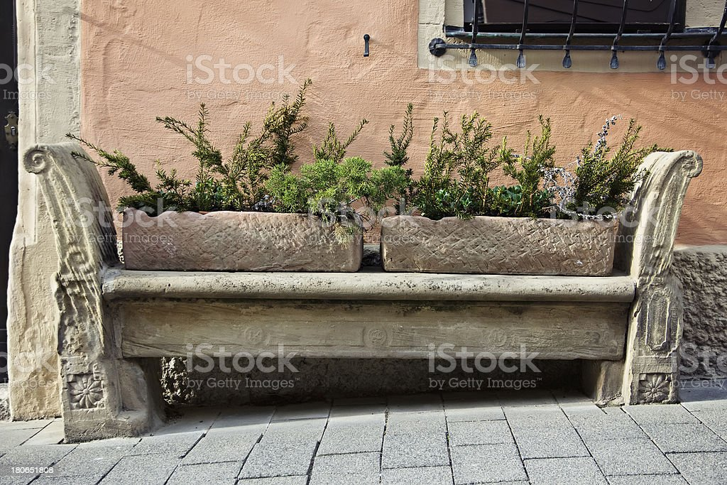 Stone carving bench in old town royalty-free stock photo