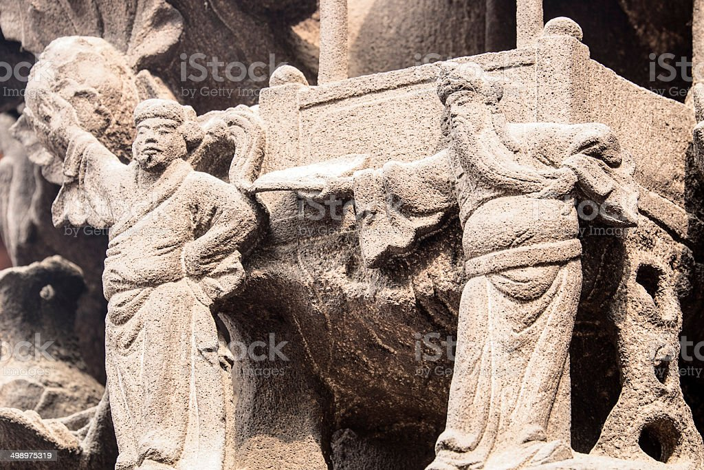 Stone Carving Detail In Temple stock photo
