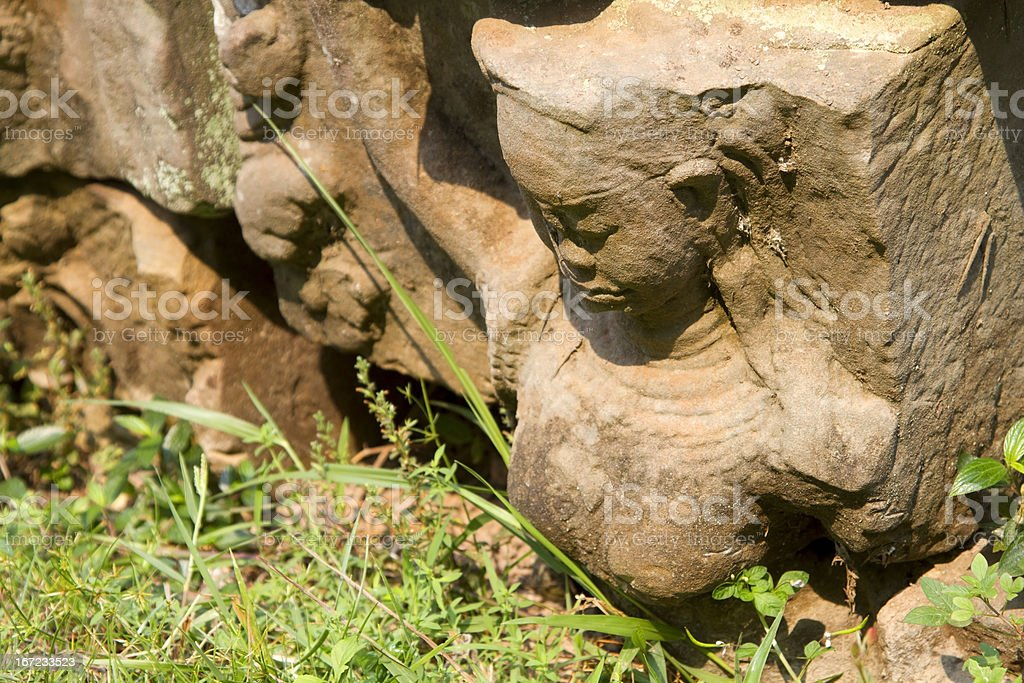 Stone carving faces, Bayon Temple, Angkor Wat, Cambodia. royalty-free stock photo