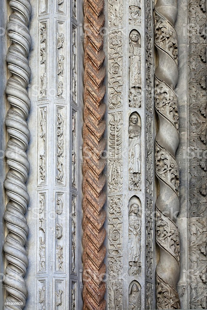 stone carving of Colleoni chapel in Bergamo stock photo