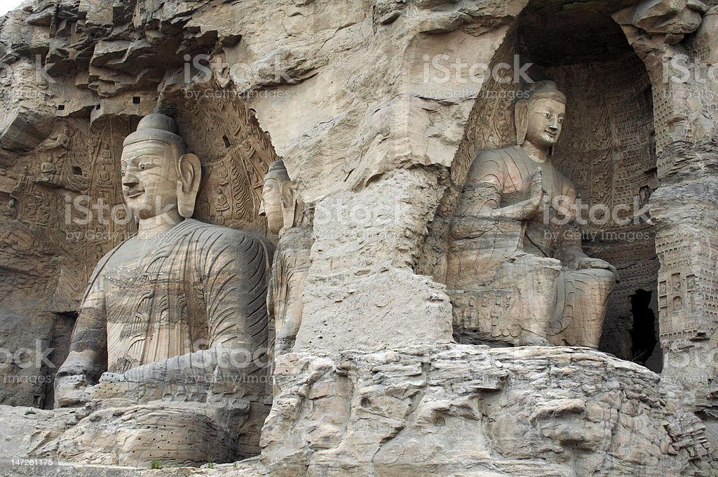 Stone carving of Yungang grottoes stock photo
