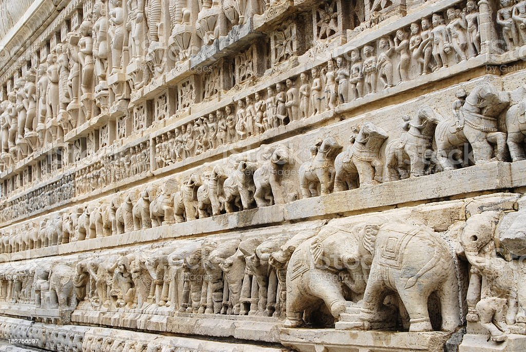 Stone carvings at the Hindhu Jagdish Temple, India royalty-free stock photo