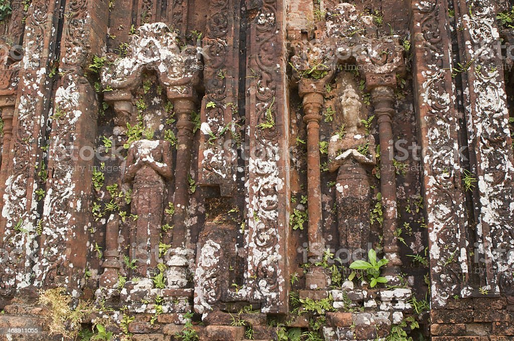 Stone carvings at the My Son Cham ruins, Vietnam stock photo