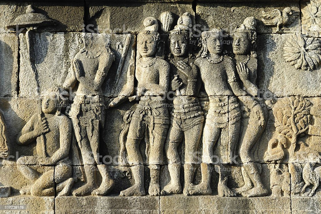 Stone carvings of Borobudur temple in Indonesia stock photo