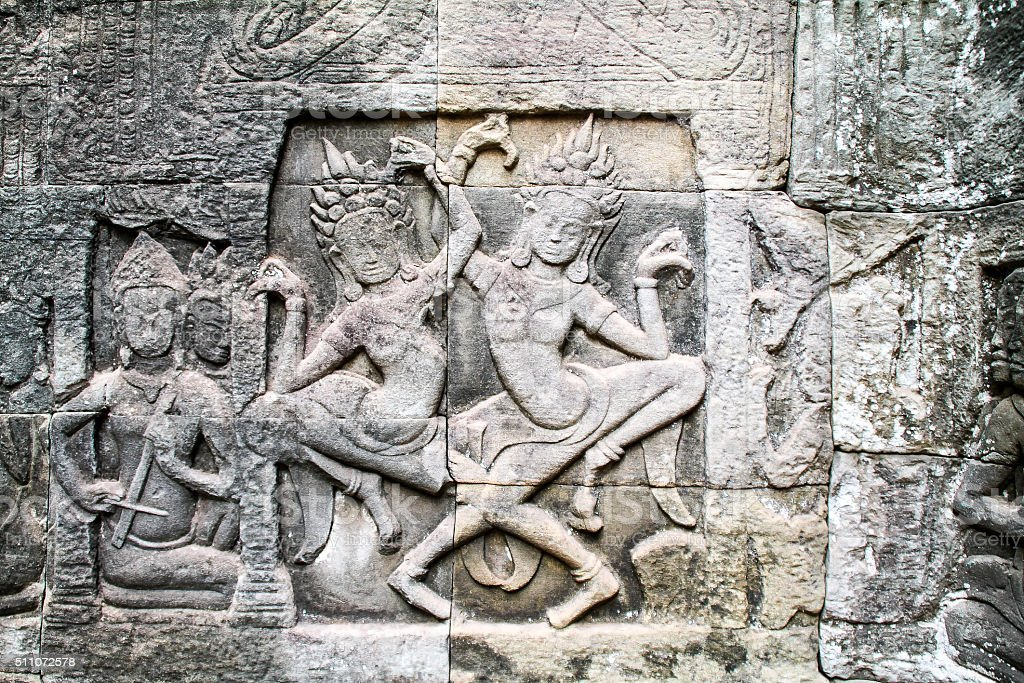 Les sculptures sur pierre d'Angkor Wat, Siem Récolter, Cambodge photo libre de droits