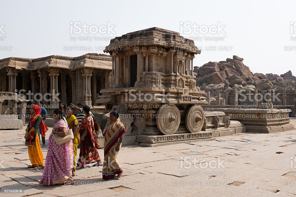 Stone Chariot in the Vittala Temple, Hampi in India stock photo