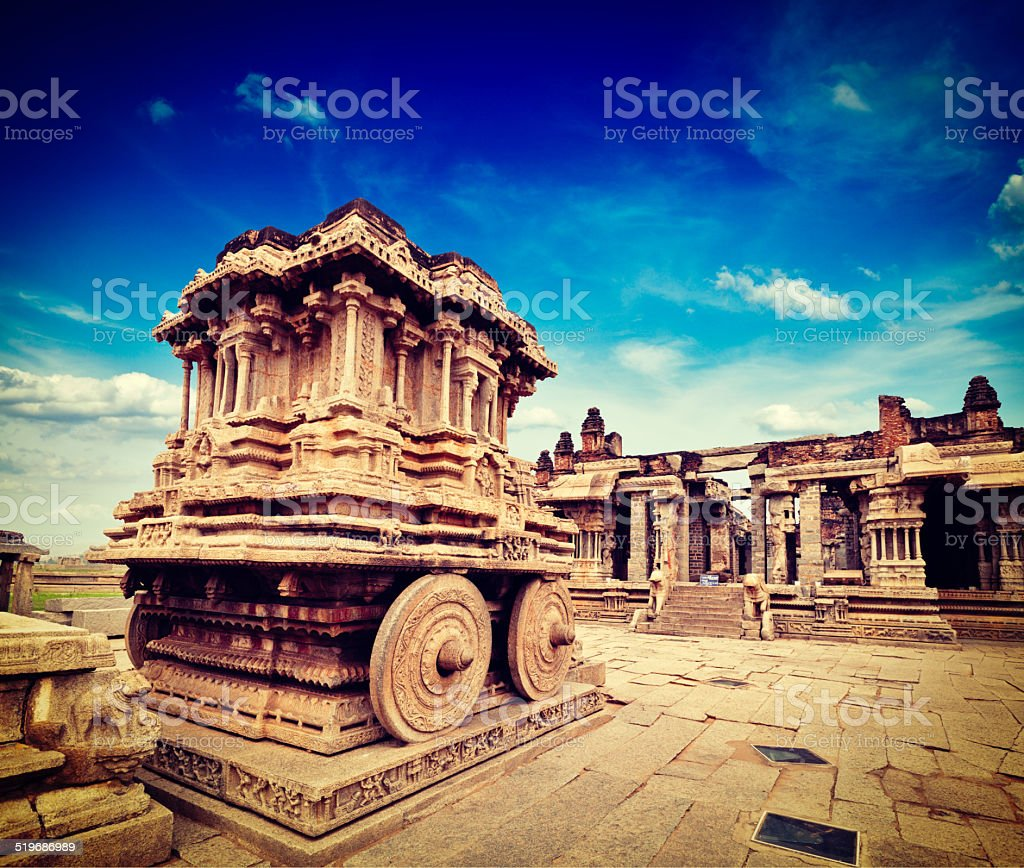 Stone chariot in Vittala temple,  Hampi stock photo