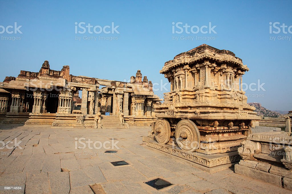 Stone chariot inside the Vittala Temple, Hampi, Karnataka, India stock photo
