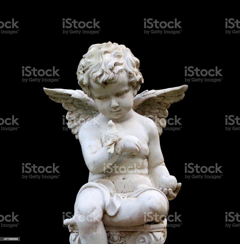 Stone cherub gazes down at bird (includes clipping path) stock photo