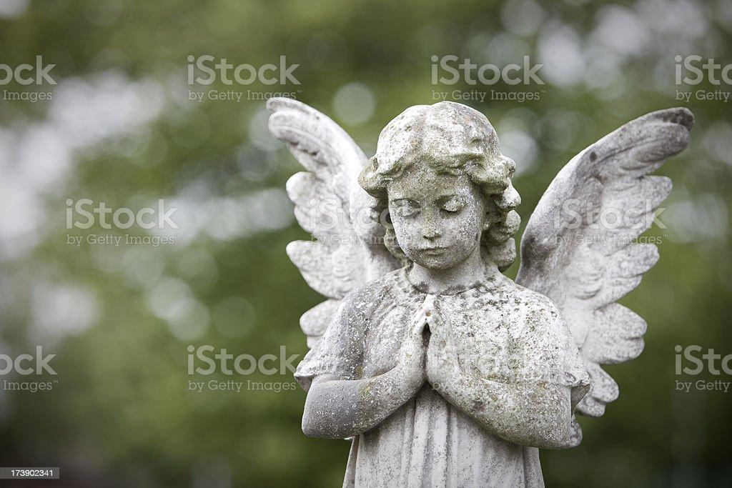 Stone cherub praying stock photo