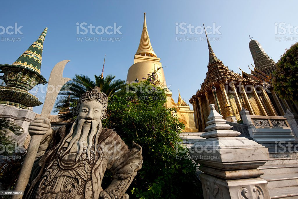Stone Chinese style statue at the Grand Palace, Bangkok. stock photo