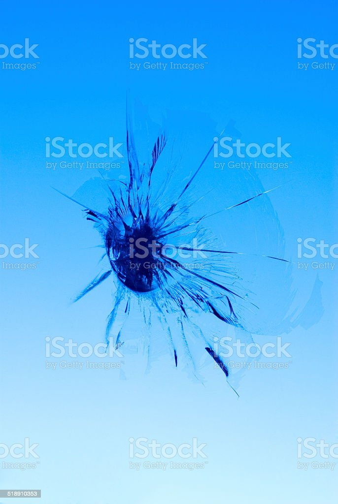 Stone Chip in Windscreen stock photo