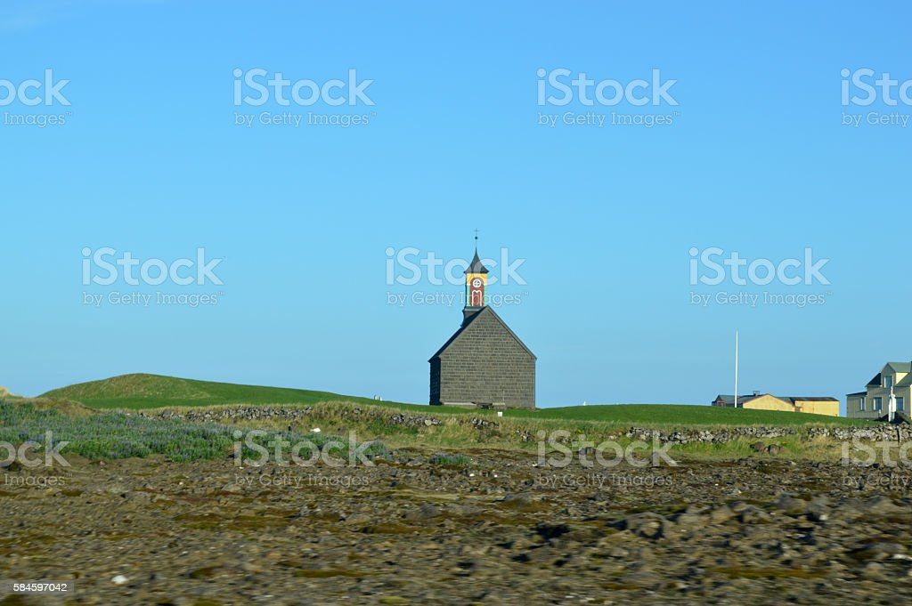 Stone church in the hills royalty-free stock photo