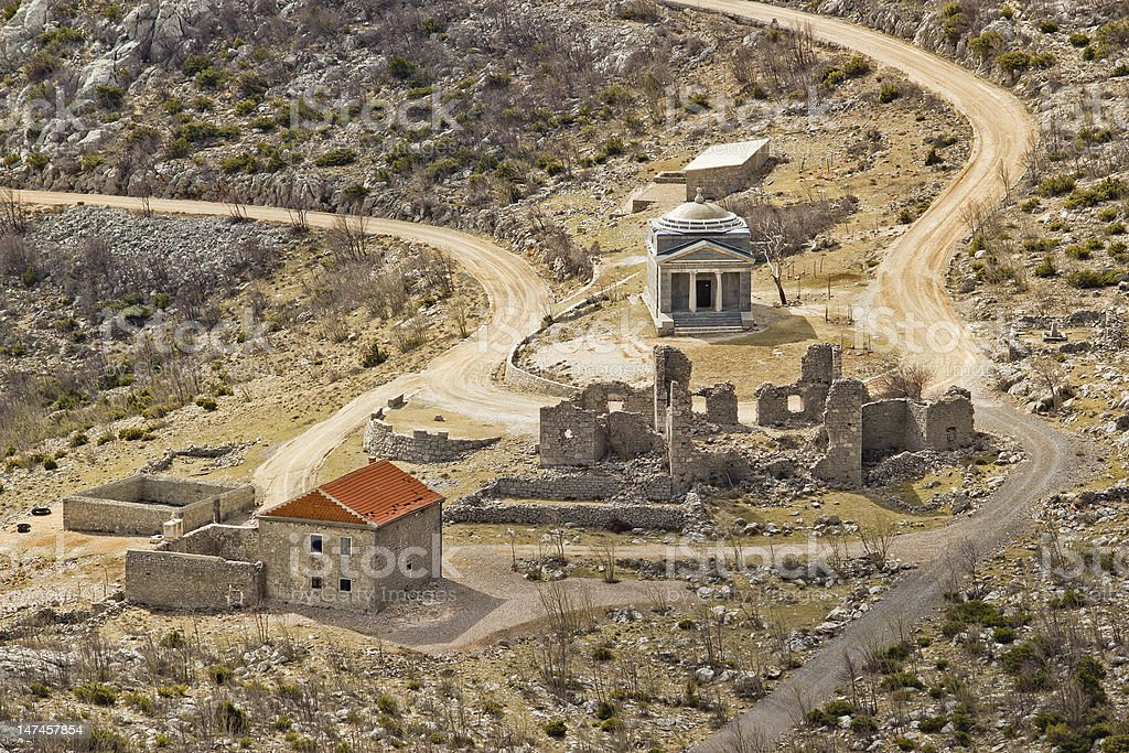 Stone church of st. Franjo on Velebit mountain stock photo