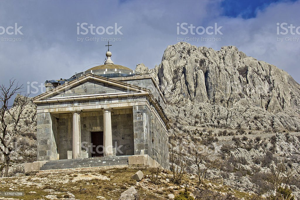 Stone church on Velebit mountain stock photo
