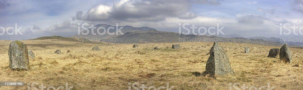 Stone Circle, Eskdale Moor - Panoramic View stock photo