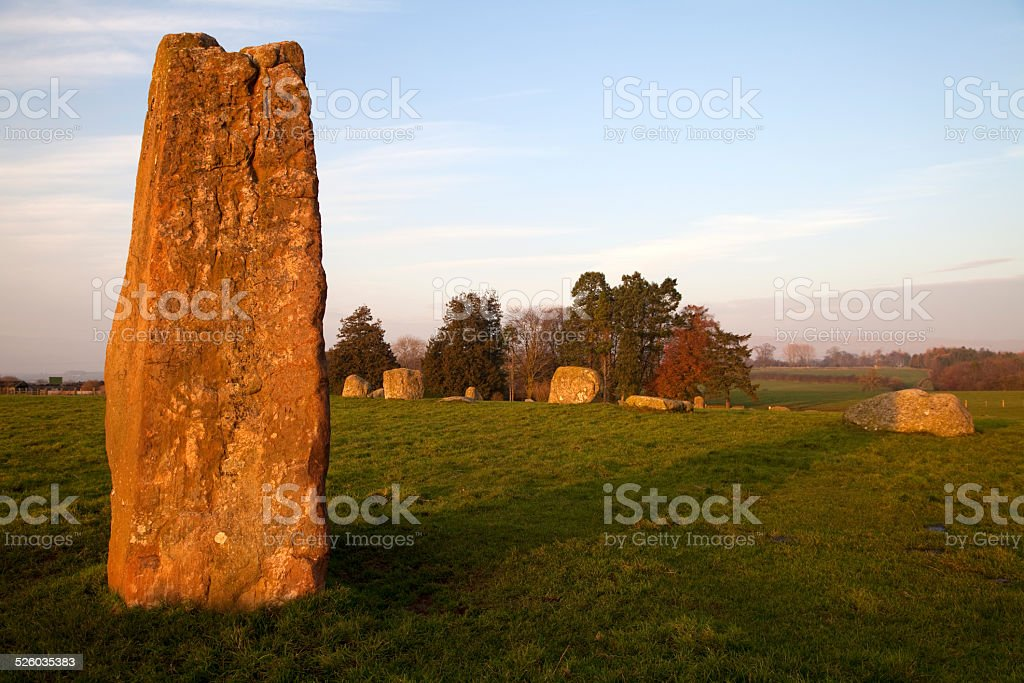 Stone circle of Long Meg and her Daughters, Cumbria stock photo