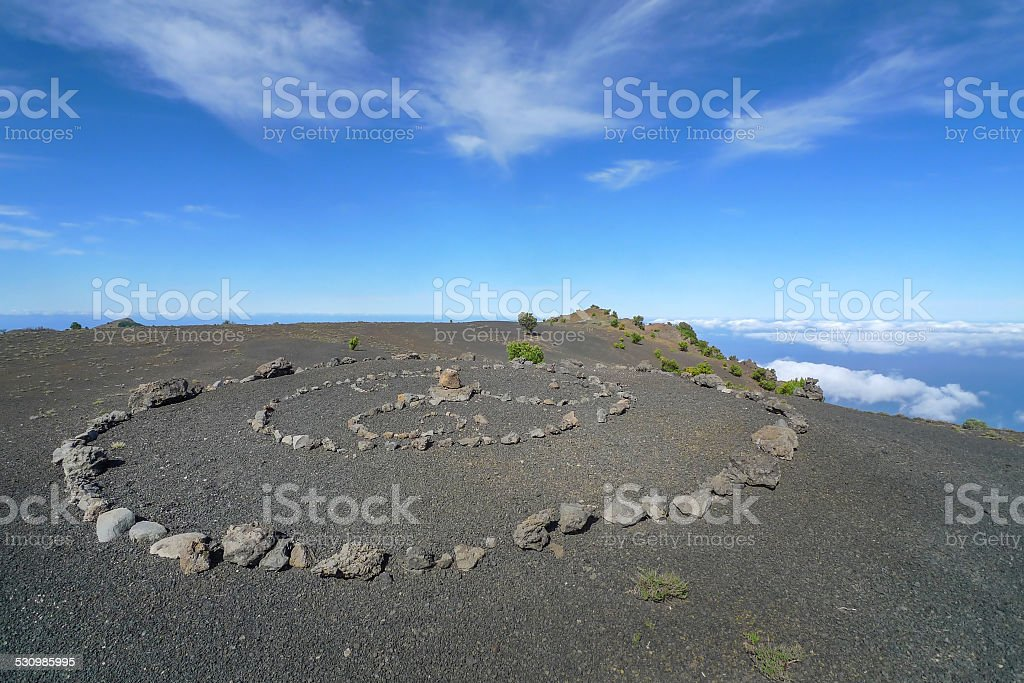 Stone circle on a volcanic plateau in El Hierro royalty-free stock photo