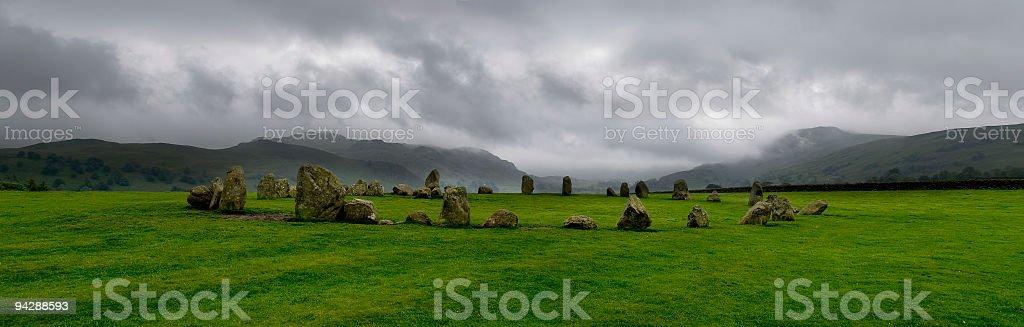 Stone circle panorama. stock photo