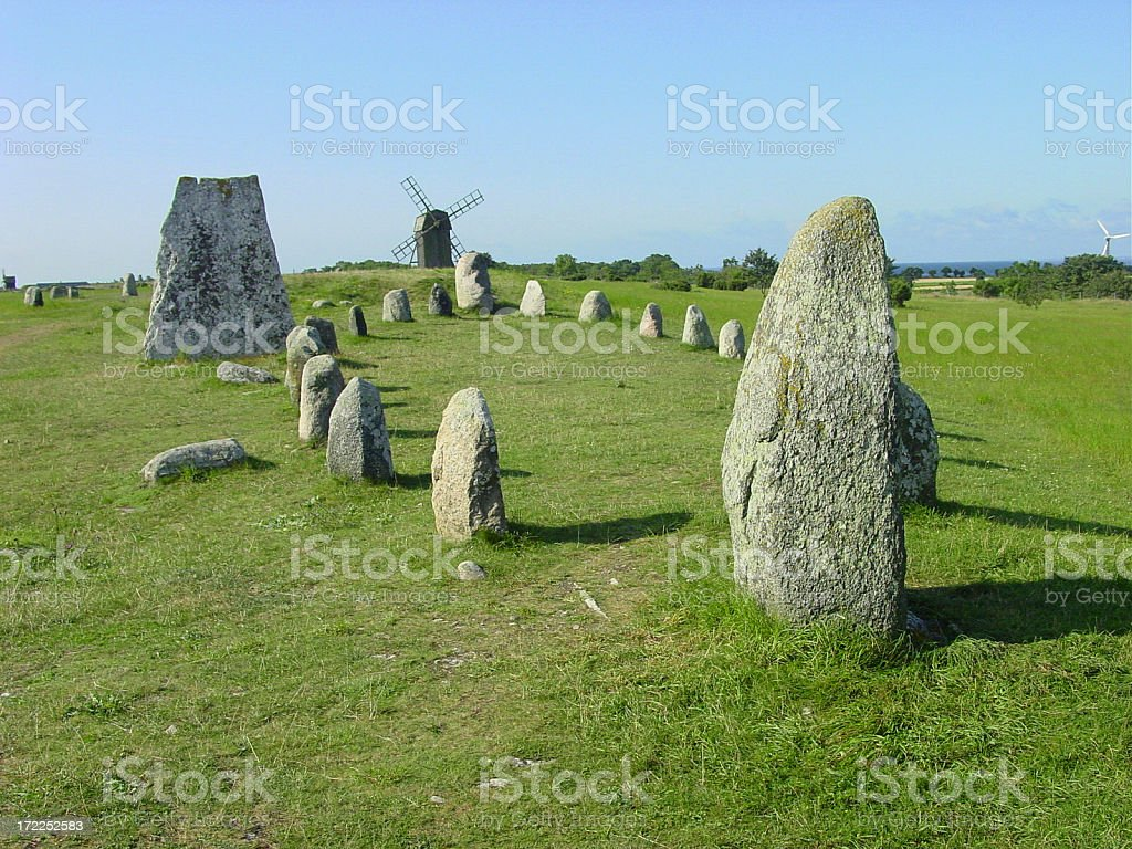 Stone circles and windmills stock photo