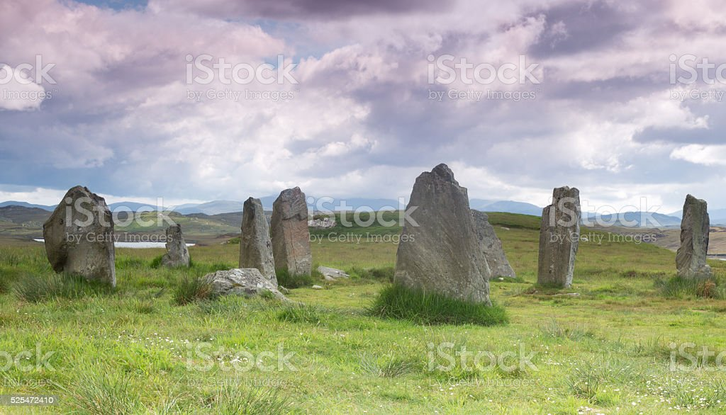 Stone cirle on Outer Hebrides stock photo