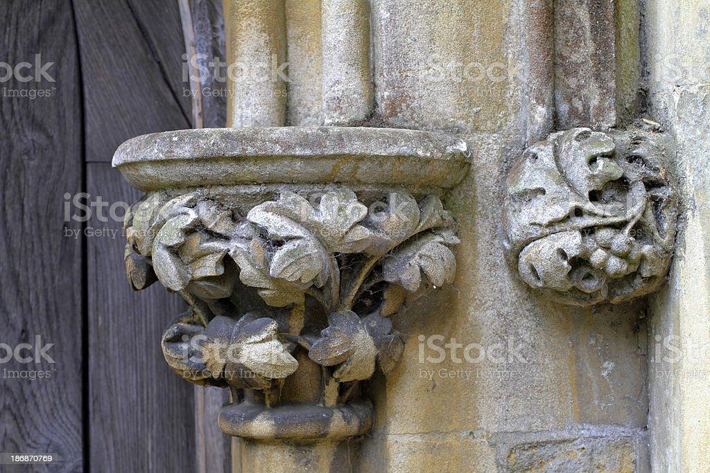 Stone column capital with acanthus decoration stock photo