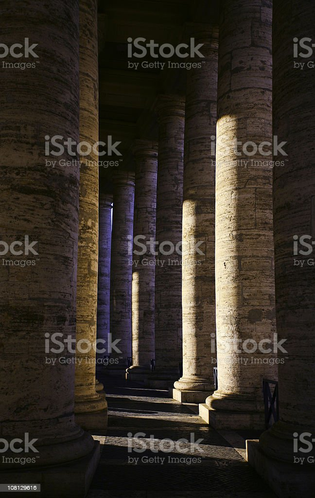 Stone Columns in St Peter's Square royalty-free stock photo