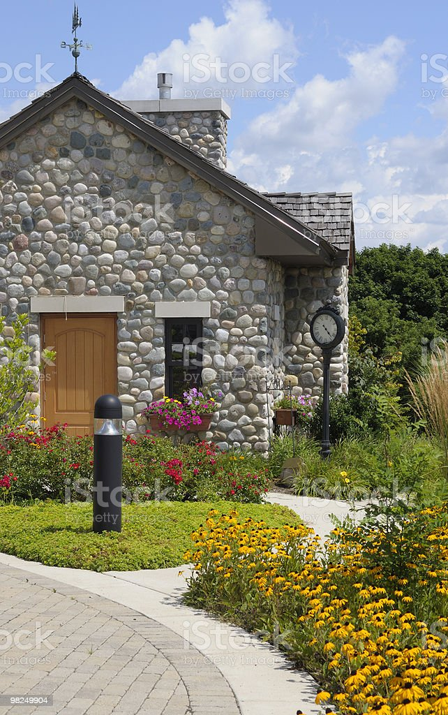 Stone Cottage on a Sunny Day stock photo