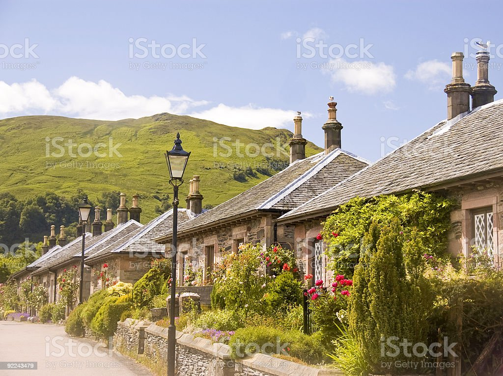 Stone Cottages, Luss, Scotland royalty-free stock photo