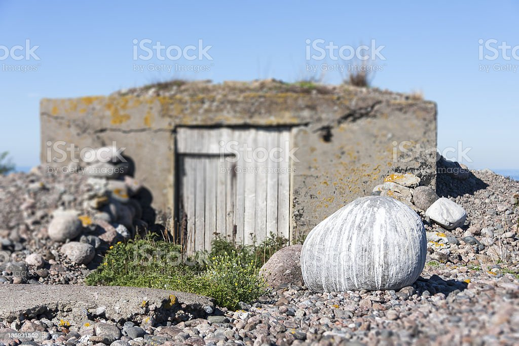 Stone covered with birds stool stock photo