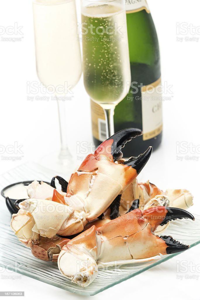 Stone crab and champagne stock photo