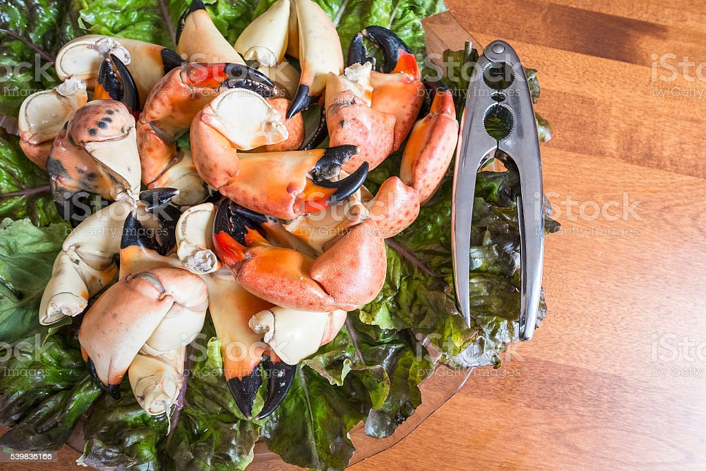 Stone Crab Claws on a Bed of Red Lettuce stock photo