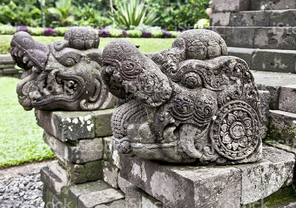 Stone craft in Candi Kidal Temple near by Malang stock photo