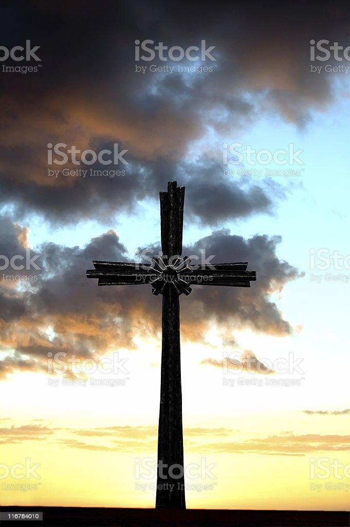 Stone Cross and dramatic sky royalty-free stock photo