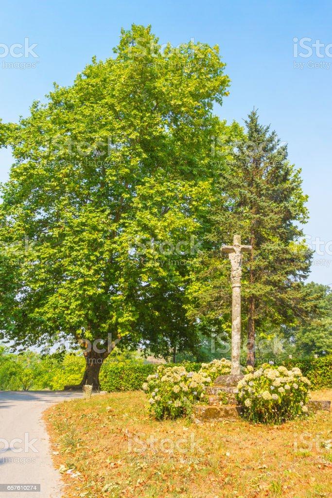Stone cross and tree stock photo
