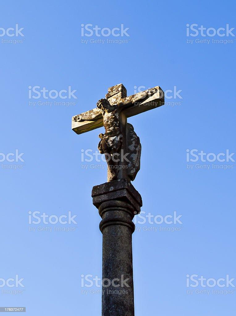 Stone cross royalty-free stock photo