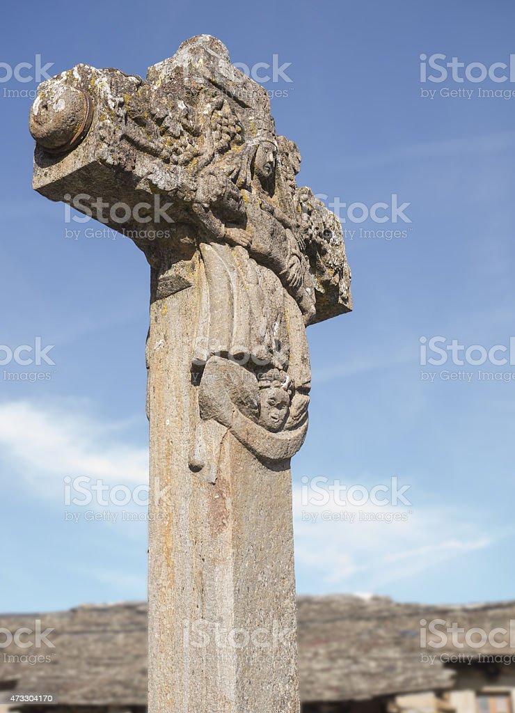 stone cross seventeenth century stock photo