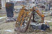 Stone crosses (khachkar) with traditional ornament, Noratus medieval cemetery,Armenia